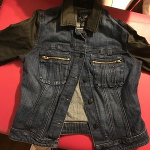 Guess jean jacket (leather sleeves)